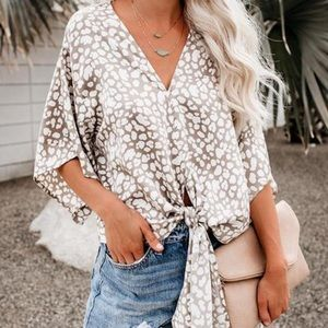 By Together Leopard Print Tie Front Top